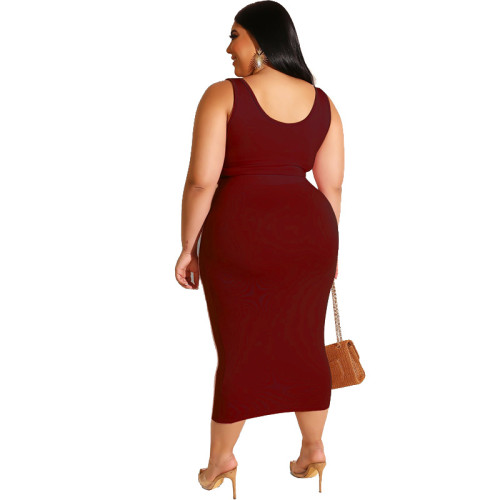 Burgundy Solid Color Casual Outfits Bodycon Plus Size Two Piece Set GJ626