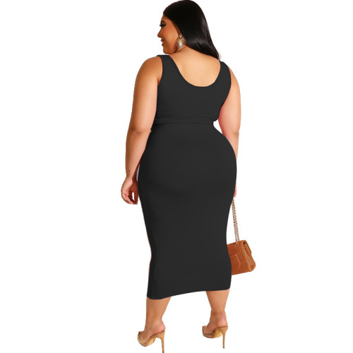 Black Solid Color Casual Outfits Bodycon Plus Size Two Piece Set GJ626