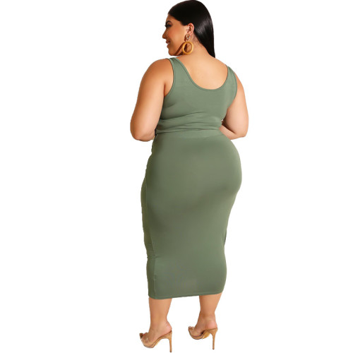 Army Green Solid Color Casual Outfits Bodycon Plus Size Two Piece Set GJ626