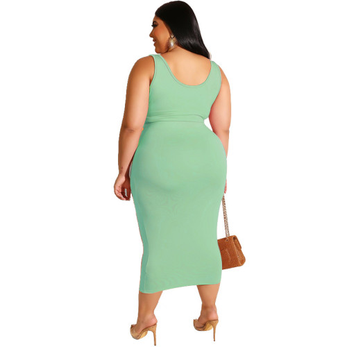 Light Green Solid Color Casual Outfits Bodycon Plus Size Two Piece Set GJ626