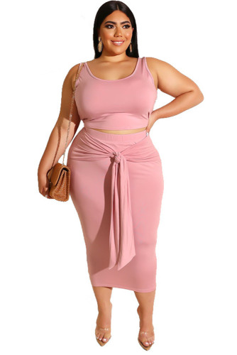 Pink Solid Color Casual Outfits Bodycon Plus Size Two Piece Set