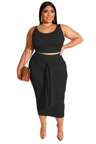 Black Solid Color Casual Outfits Bodycon Plus Size Two Piece Set