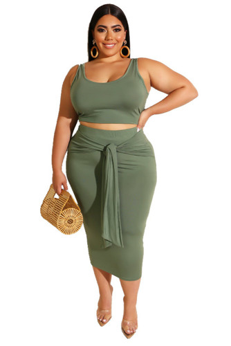 Army Green Solid Color Casual Outfits Bodycon Plus Size Two Piece Set