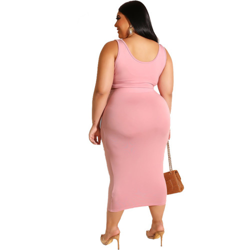 Pink Solid Color Casual Outfits Bodycon Plus Size Two Piece Set GJ626