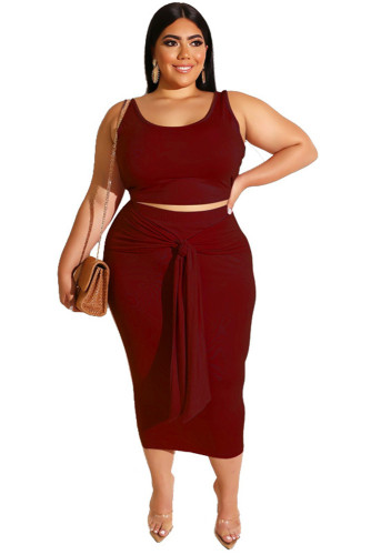 Burgundy Solid Color Casual Outfits Bodycon Plus Size Two Piece Set
