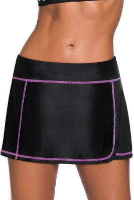 Purple Stitch Trim Black Swim Skirt Bottom