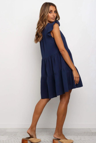 Blue Short Ruffled Sleeve V Neck Tiered Gathered Dress LC221264