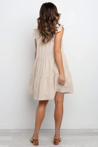 Beige Short Ruffled Sleeve V Neck Tiered Gathered Dress LC221264