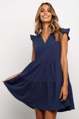 Blue Short Ruffled Sleeve V Neck Tiered Gathered Dress
