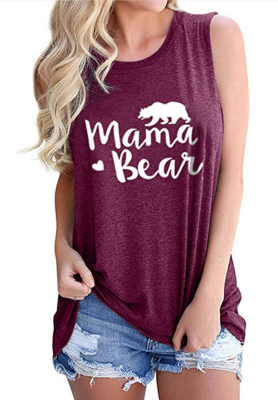 Wine Red Mama Bear Letter Print Tank Top