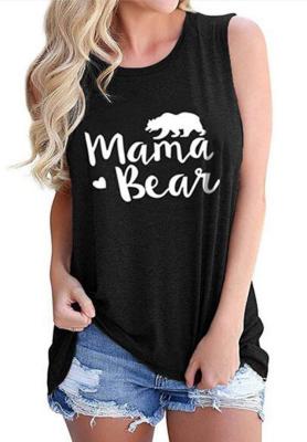 Black Mama Bear Letter Print Tank Top