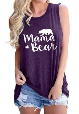 Purple Mama Bear Letter Print Tank Top