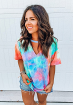 Multi-colored Tie Dye V Neck Top
