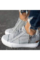 Grey Canvas Shoes with Zipper