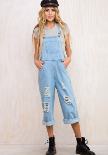 Blue Denim Overalls with Button
