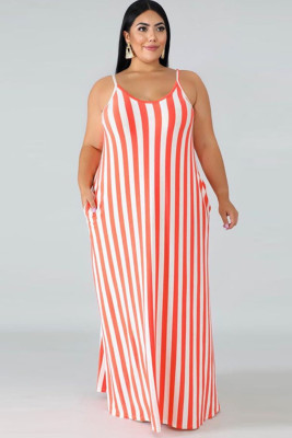 Women Sleeveless Stripe Design Plus Size Dress