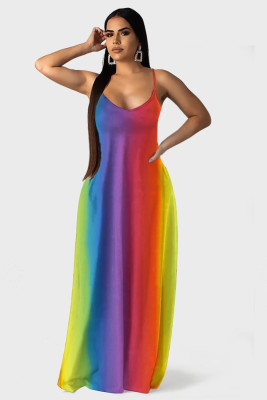 Bohemia Tie Dye Long Slip Dress Sleeveless Beach Boho Loose Dress