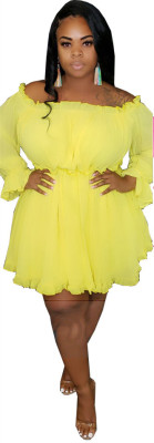 Ladies Ruffle Long Sleeve Plus Size Dress