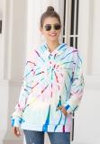 Light Blue Tie Dye Kangroo Pocket Sweatshirt with Hoods