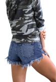 Dark Blue Short Jeans with Tassel