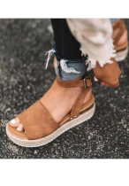 Brown Solid Flat Sandals