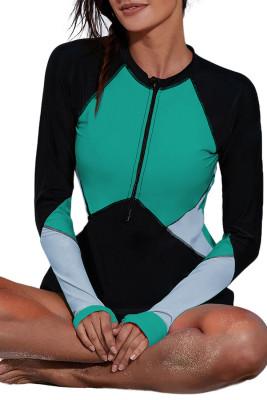 Green Zip Up Neckline Color Block Rashguard Top