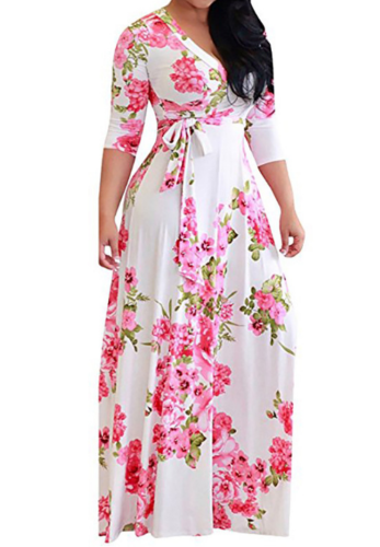 White Floral Three Quarter Sleeve Dress with Belt