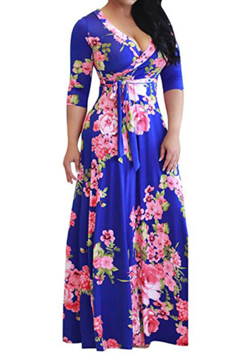 Blue Floral Three Quarter Sleeve Dress with Belt