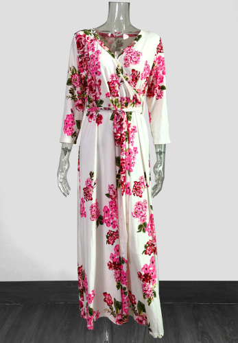 White Floral Three Quarter Sleeve Dress with Belt GJ729