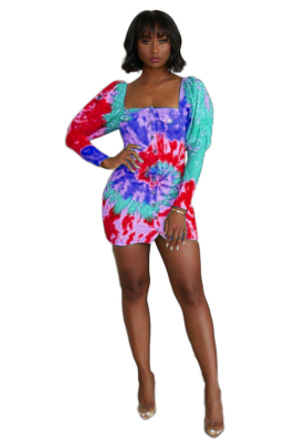 Tie Dye Print Women Button Dress