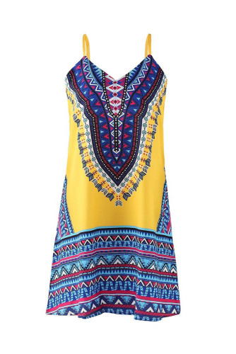 Yellow Boho Aztec Print Sleeveless Sundress LC221290