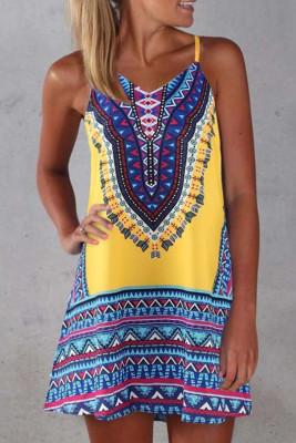 Yellow Boho Aztec Print Sleeveless Sundress