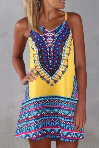 Yellow Boho Aztec Print Sleeveless Sundress
