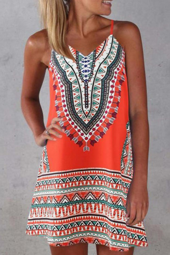 Orange Boho Aztec Print Sleeveless Sundress