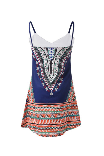 Navy Boho Aztec Print Sleeveless Sundress LC221290