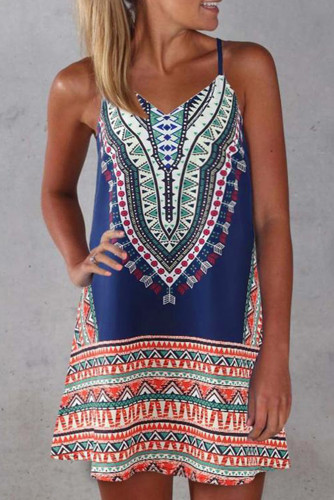 Navy Boho Aztec Print Sleeveless Sundress
