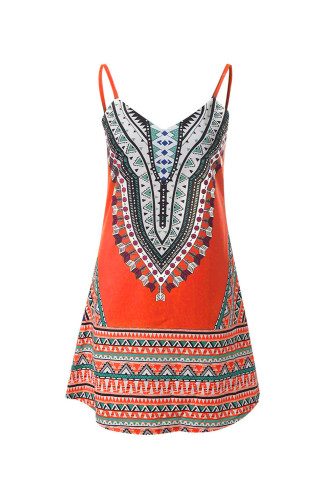 Orange Boho Aztec Print Sleeveless Sundress LC221290