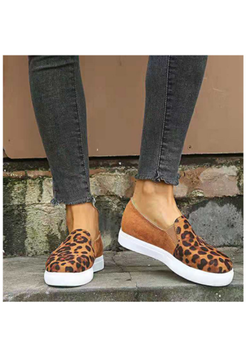 Brown Leopard Print Slip On Shoes