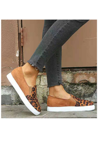 Brown Leopard Print Slip On Shoes XC604
