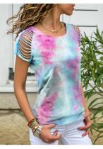 Light Blue Tie Dye Ripped Shoulder Plus Size Top