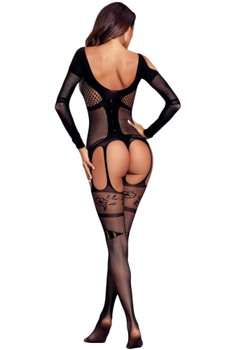 Long Sleeved Bustier Garter Open Crotch Bodystocking LC790021