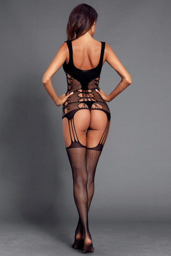 Black Strappy Cutout Detail Open Crotch Bodystocking LC790022