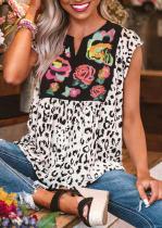 Leopard Flower Splicing V-Neck Blouse