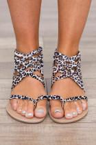 Beige Leopard Strappy Flat Sandal