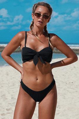 Black Spaghetti Straps Knot Ribbed Bikini