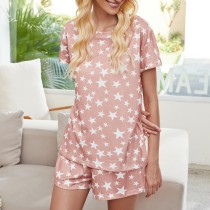 Star Print Home Pajamas Set