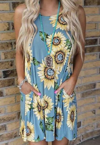 Sunflower Print Dress with Pocket