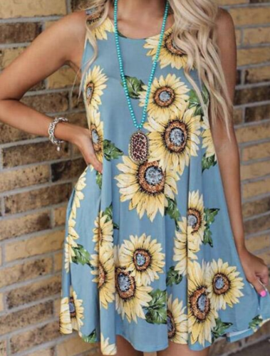Sunflower Print Dress with Pocket XC626