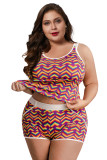 Rainbow Heart Print Plus Size Tank and Short Set