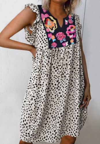 Leopard Flower Splicing V-Neck Dress